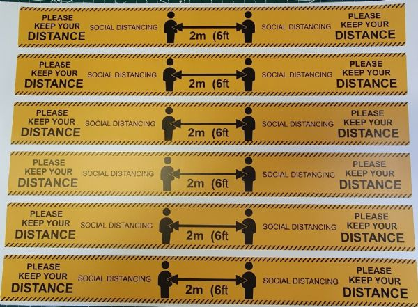 Social Distancing Floor Stickers BS Anti- Slip Rated 2m (6ft) Safety Signs